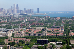 Overhead view of Chicago. Gray, beige, and brick buildings are nestled among deciduous trees. A gray cityscape and Lake Michigan are visible in the background.