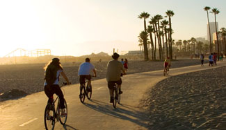 At sunset people ride bikes or walk along a path that is flanked by sand. Clusters of tall palm trees stand along the path in the background.