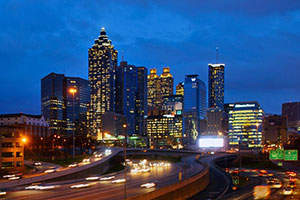 Cityscape of Atlanta at night.