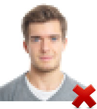 Unacceptable: Pixelated photo