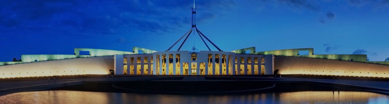 The Australian Parliament building at night