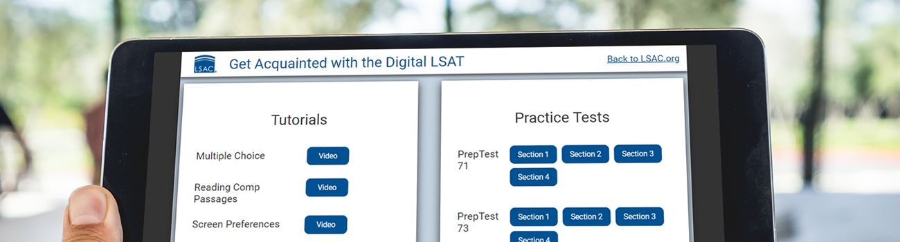 Get Acquainted with the Digital LSAT tutorial on tablet
