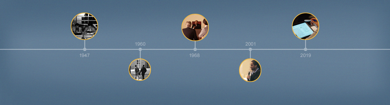 Timeline featuring the dates 1947, 1960, 1968, 2001, and 2019