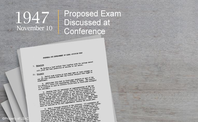 "An outline marked, ""Proposal for Development of Legal Aptitude Test."" Image copyright LSAC."