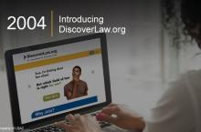 "A person accesses the DiscoverLaw.org homepage. The text displayed on the screen reads, ""Sure, I'm thinking about law school. But which field of law is right for me? Take Quiz. Why Join?"" Image copyright LSAC."