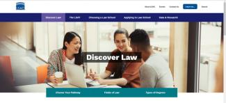 Screen cap of new Discover Law landing page