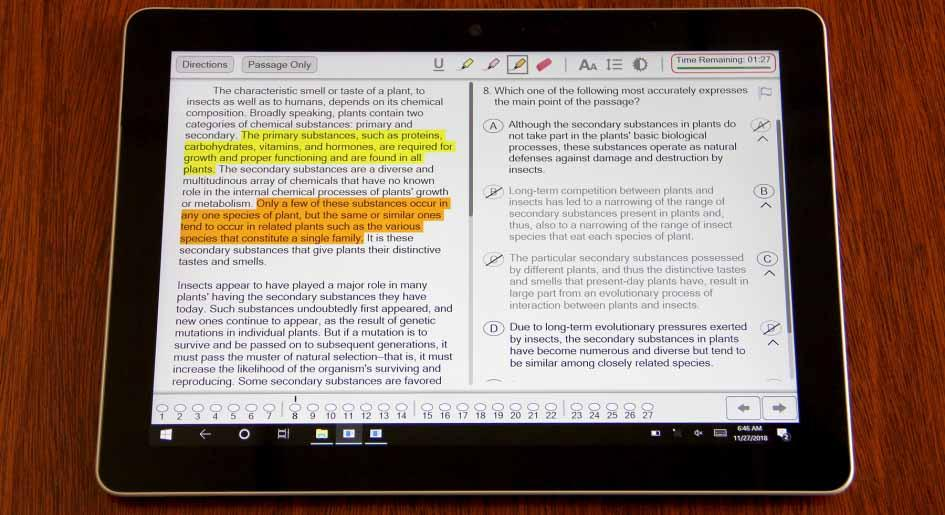 The Digital LSAT on the Microsoft Surface Go offers many features such as a timer, highlighting, and flagging to keep track of questions to revisit in a section.