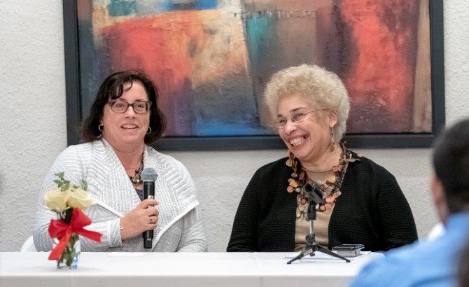 Camille deJorna speaks on a panel to encourage first-gen law students