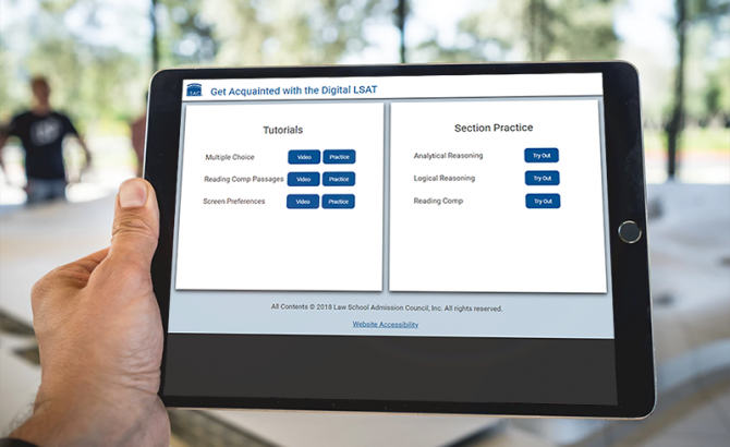Get Acquainted with the Digital LSAT tutorial on a tablet